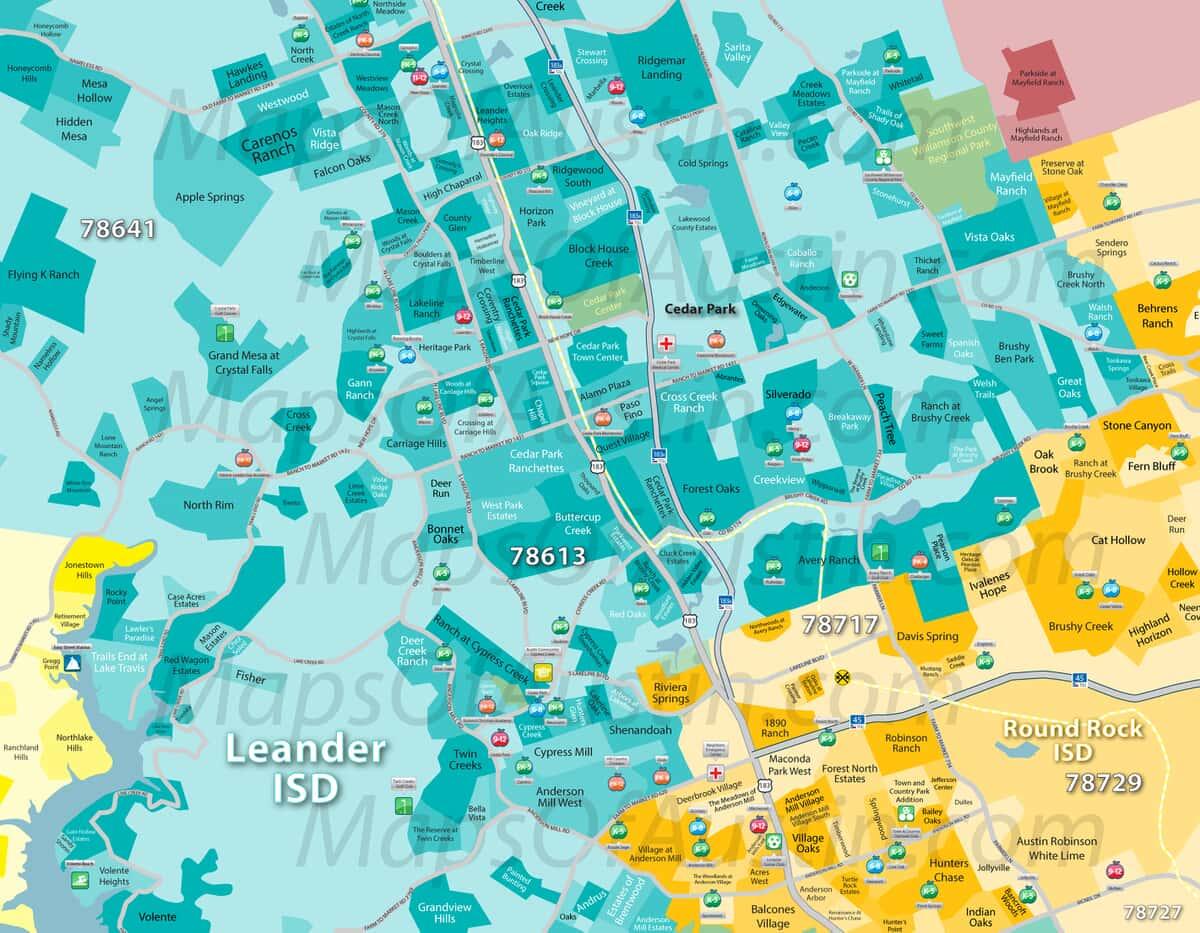 Cedar Park, TX - Cedar Park Neighborhood Map | Maps of Austin ... on