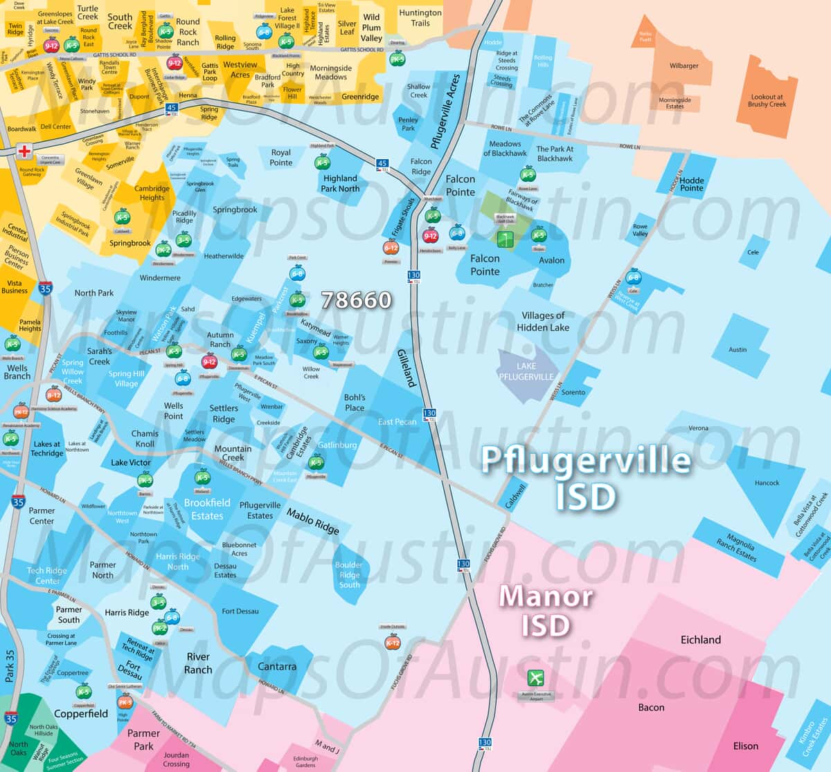 Map Of Texas Cities Only.Pflugerville Tx Pflugerville Neighborhood Map Maps Of