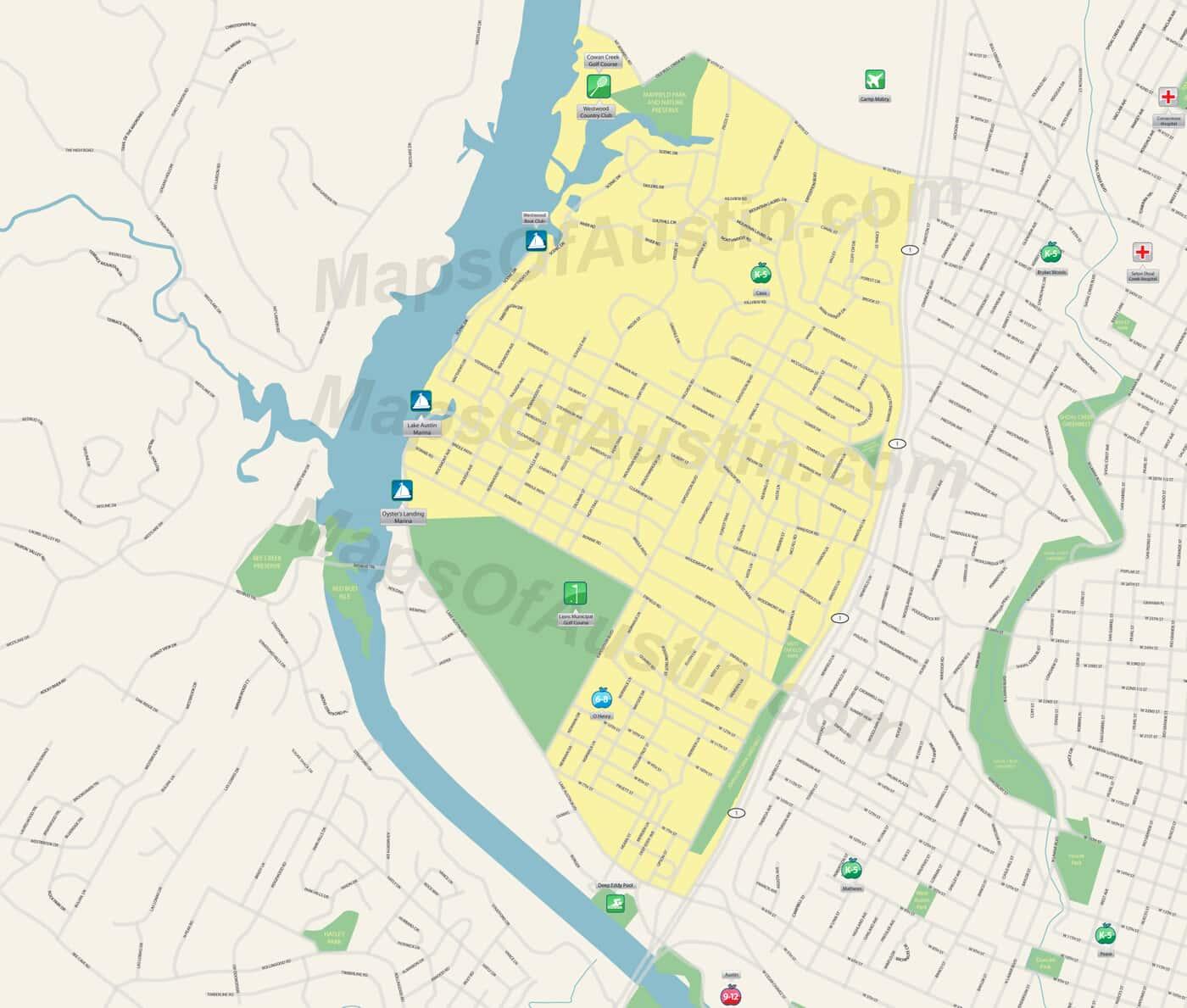 Tarrytown Austin Tx Tarrytown Neighborhood In Austin Maps Of