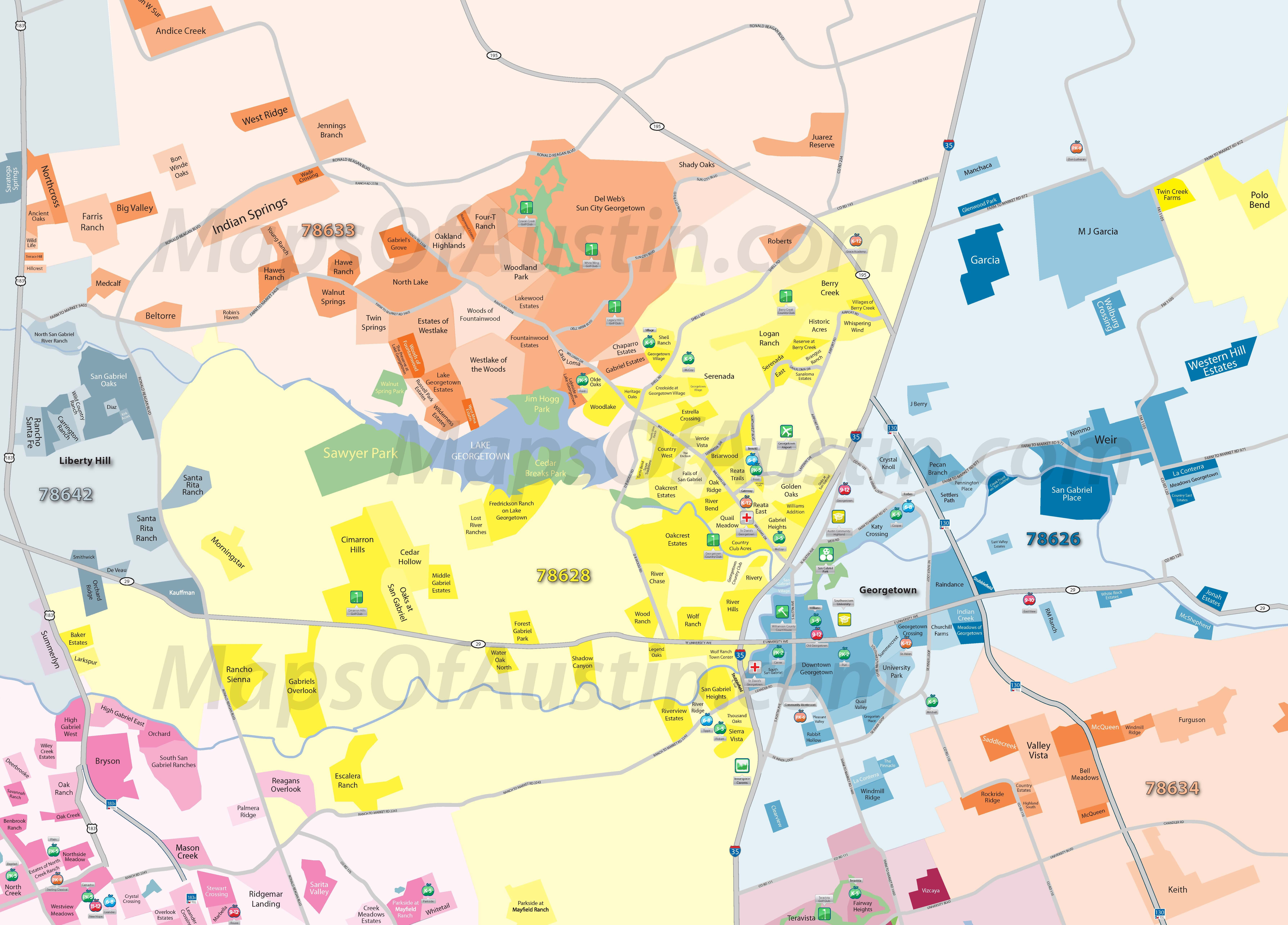 Georgetown TX Georgetown Neighborhood Map
