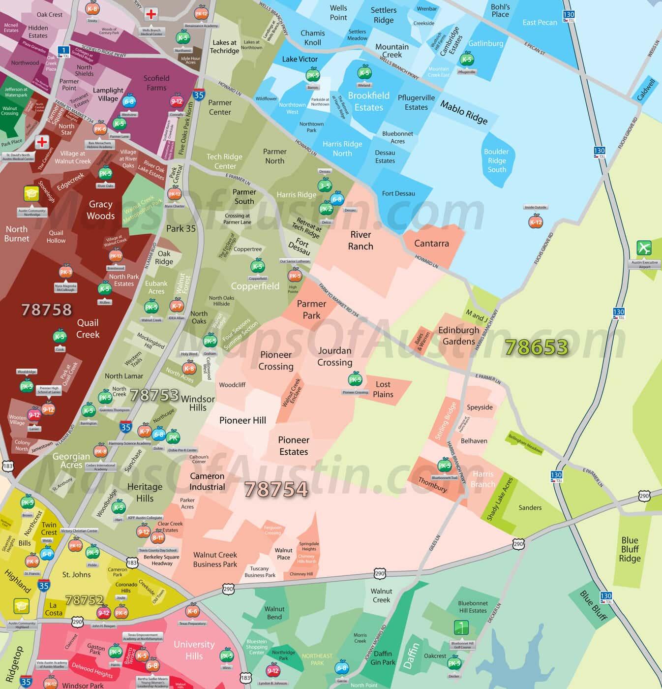 Northeast Austin, TX - Northeast Austin, TX Neighborhood Map