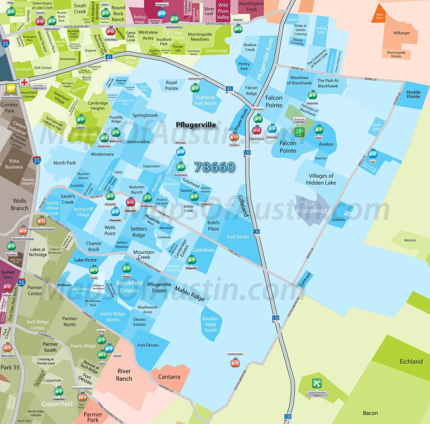 Pflugerville, TX - Pflugerville Neighborhood Map | Maps of Austin ...