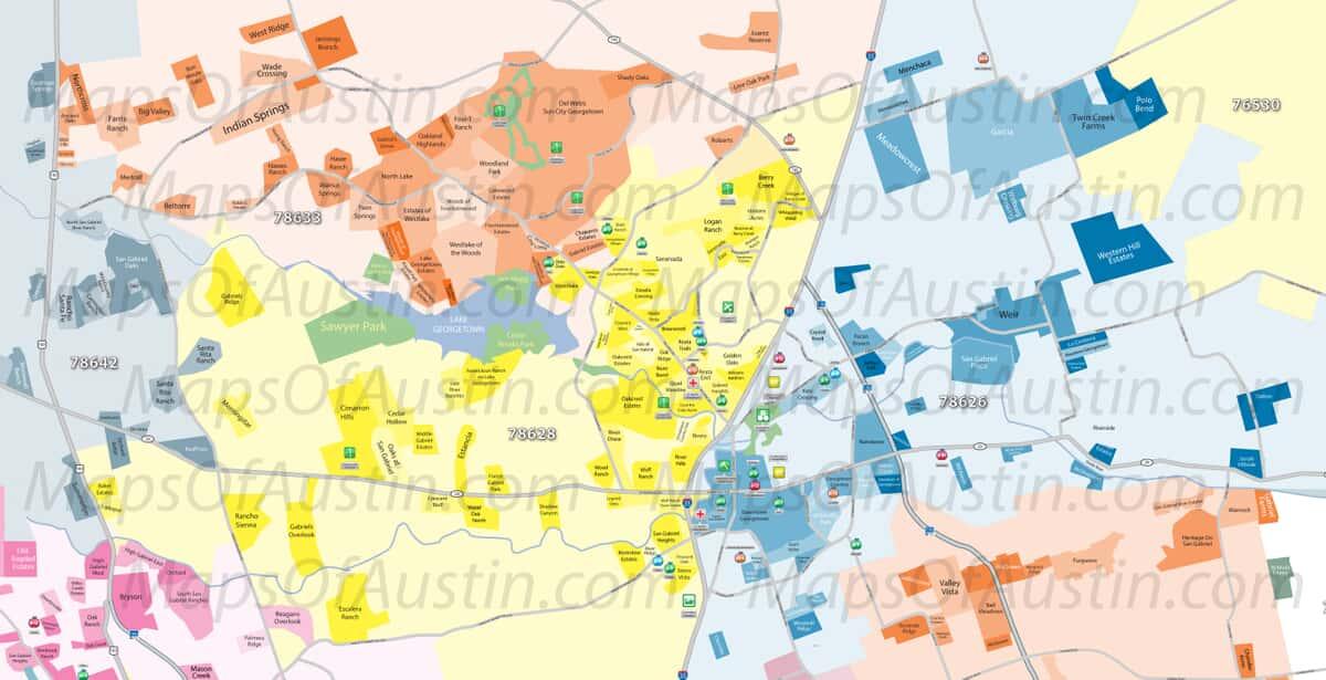 Austin Texas Karte.Georgetown Tx Georgetown Neighborhood Map Maps Of Austin