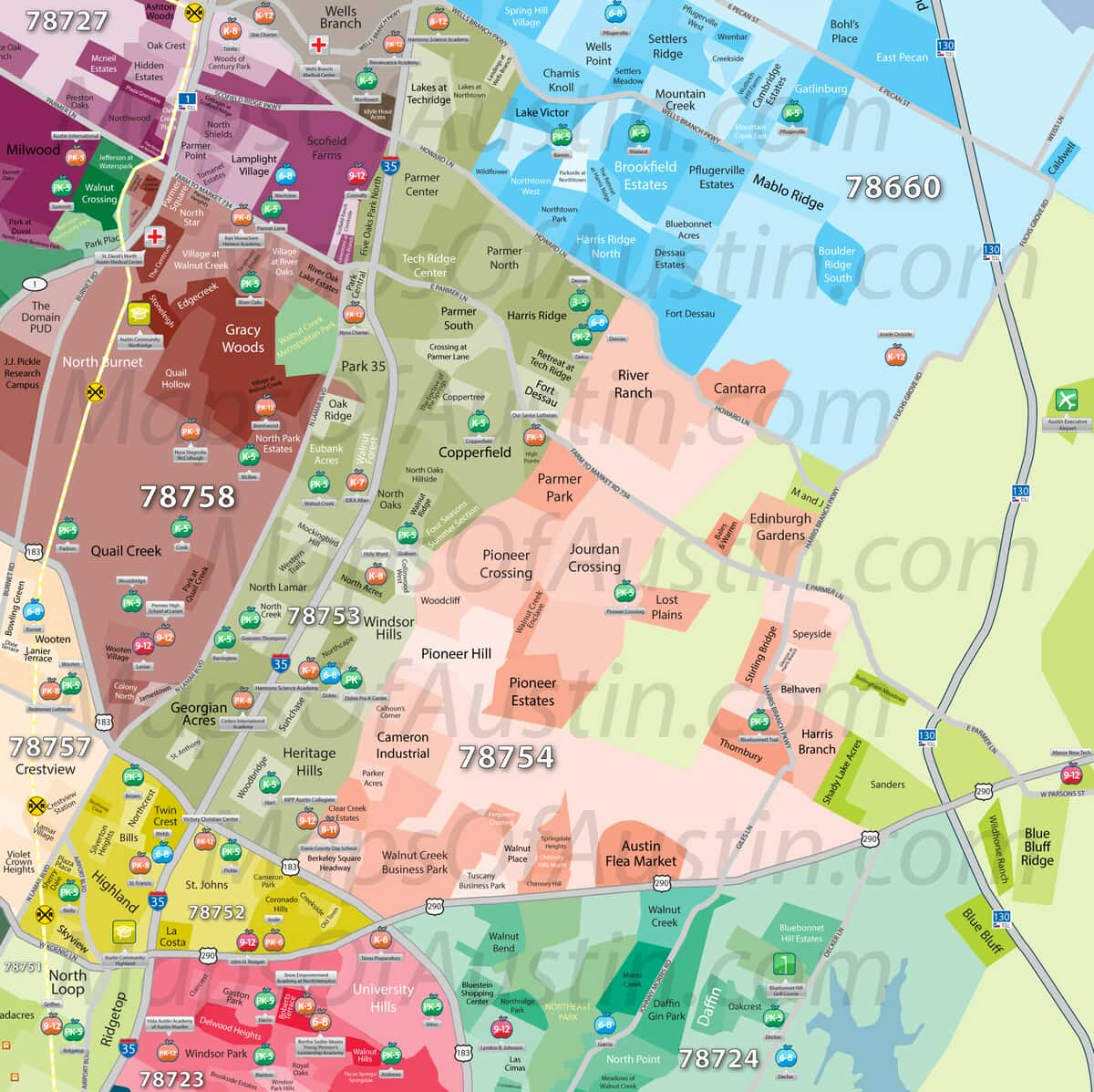 Northeast Austin, TX - Northeast Austin, TX Neighborhood Map ... on zip codes and counties, zip code mapping data, zip codes for warren oh,