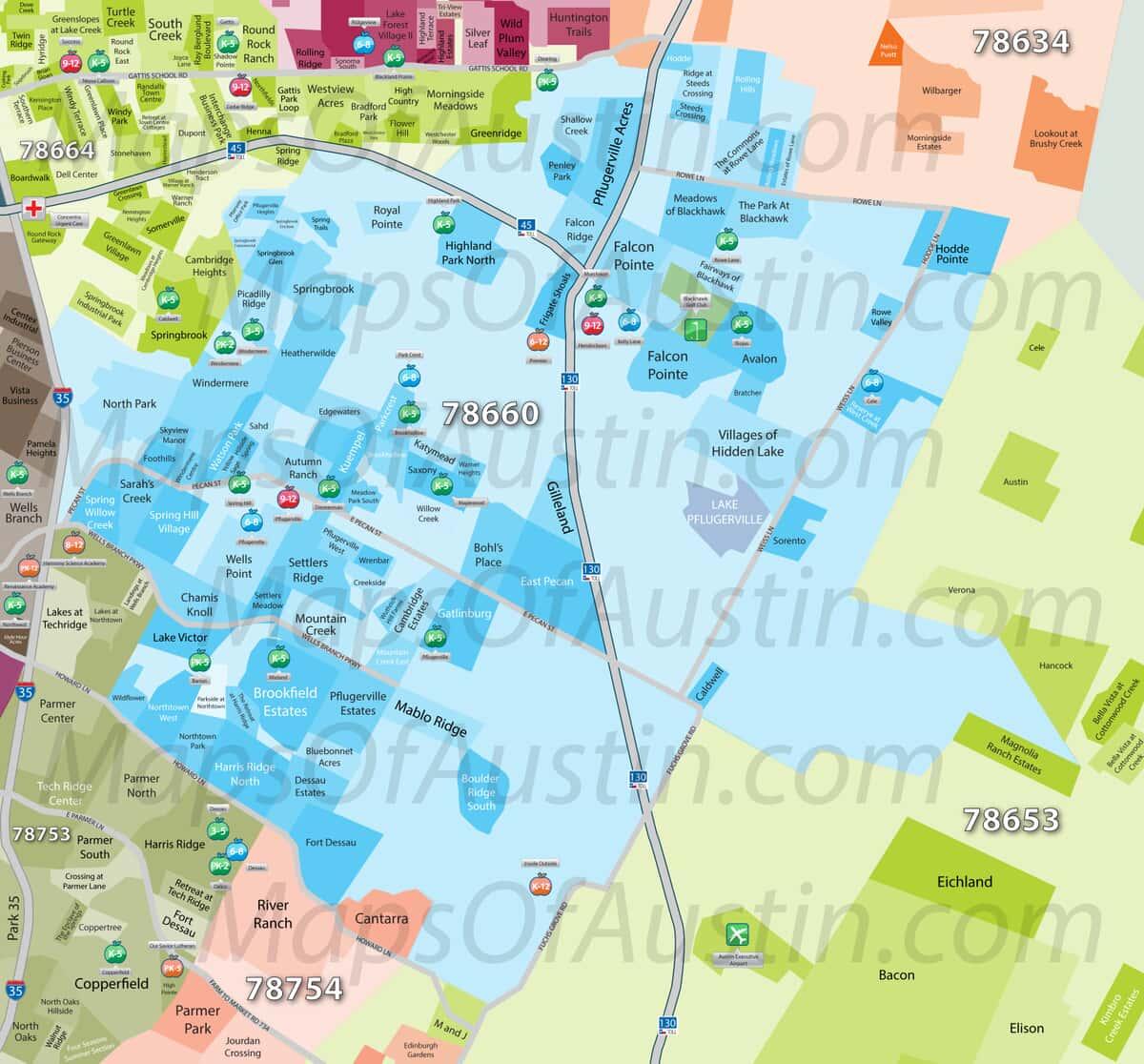Map Of Northeast Texas Cities.Pflugerville Tx Pflugerville Neighborhood Map Maps Of Austin