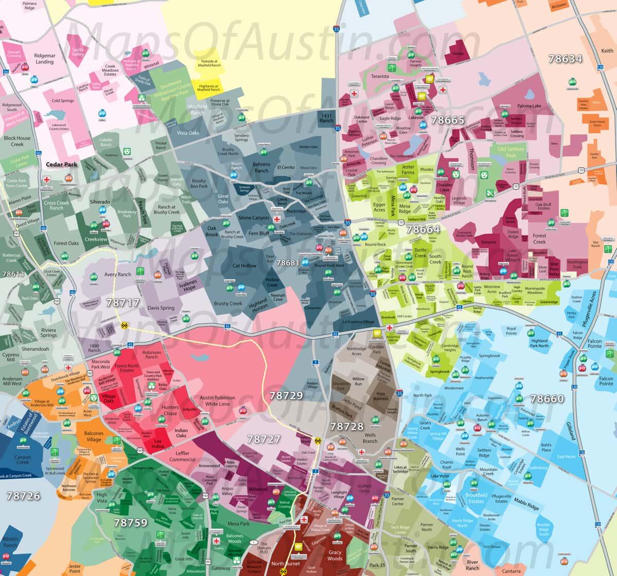 Round Rock, TX - Round Rock, TX Neighborhood Map | Maps of ...